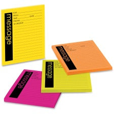 "Post-it® Telephone Message Sticky Notepads - 50 Sheet(s) - 5"" x 4"" Sheet Size - Assorted - Assorted Sheet(s) - 4 / Pack"