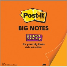 "Post-it® Super Sticky Big Notes - 30 x Orange - 11"" x 11"" - Square - 30 Sheets per Pad - Orange - Sticky, Removable - 1 Each"
