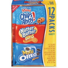Nabisco Bite-size Cookie Variety Pack - Chocolate Chip, Peanut Butter - 1 Serving Bag - 1 oz - 48 / Carton
