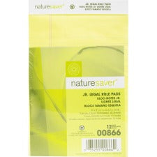 "Nature Saver 100% Recycled Canary Jr. Rule Legal Pads - Jr.Legal - 50 Sheets - 0.28"" Ruled - 15 lb Basis Weight - 5"" x 8"" - Canary Paper - Perforated, Back Board - Recycled - 12 / Dozen"