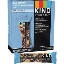KIND Blueberry Vanilla & Cashew - Trans Fat Free, High-fiber, Low Sodium, Dairy-free, Gluten-free, Peanut-free - Vanilla Blueberry, Cashew - 1.41 oz - 12 / Box