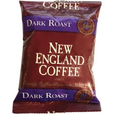 New England French Roast Coffee Portion Pack - French Roast - Dark - 2.5 oz Per Pack - 24 / Carton