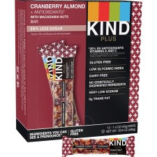 KIND Cranberry Almond Plus Antioxidants Snack Bars - Cholesterol-free, Non-GMO, Individually Wrapped, Gluten-free - Cranberry, Almond - 1.40 oz - 12 / Box