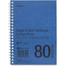 "Mead Heavyweight Single Subject Notebook - 80 Sheets - Coilock - 5"" x 7"" - White Paper - Assorted Cover - Durapress Cover - 1Each"