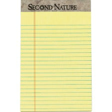 "TOPS Second Nature Recycled Jr Legal Writing Pad - 50 Sheets - 0.28"" Ruled - 15 lb Basis Weight - 5"" x 8"" - Canary Paper - Perforated - 12 / Dozen"