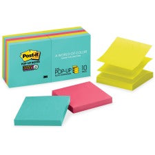"Post-it® Super Sticky Pop-up Notes - Miami Color Collection - 900 x Multicolor - 3"" x 3"" - Rectangle - 90 Sheets per Pad - Multicolor - Paper - Self-adhesive, Removable, Recyclable - 10 / Pack"