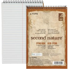 "TOPS Second Nature Spiral Steno Notebook - 70 Sheets - Spiral - 0.34"" Ruled - 15 lb Basis Weight - 6"" x 9"" - 1"" x 6""9"" - White Paper - Blue, Gray, Brown Cover - Acid-free - Recycled - 4 / Pack"