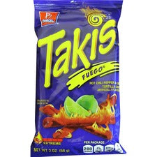 Takis Fuego Rolled Tortilla Chips - Hot Chili Pepper & Lime - 1 - 1.98 oz - 42 / Carton