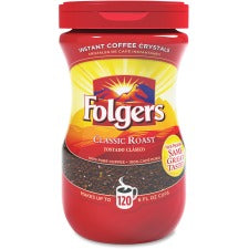 Folgers® Classic Roast Instant Coffee Crystals Instant - Regular, Regular - Mountain Grown - Classic - 8 oz - 1 Each