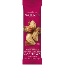 Sahale Snacks Naturally Pomegranate Vanilla Flavored Cashews - No Artificial Flavor, Preservative-free, No Artificial Color, Gluten-free - Vanilla, Pomegranate - 1.50 oz - 18 / Carton