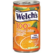 Welch's 100% Orange Juice Cans - Ready-to-Drink - Orange Flavor - 5.50 fl oz (163 mL) - 48 / Carton