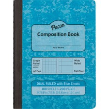 "Pacon Dual Ruled Composition Book - 100 Sheets - 9.8"" - Sturdy, Hard Cover - 100 / Book"