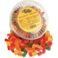 Office Snax Tub of Gummy Bears Candy - Assorted - Resealable Container - 2 lb - 1 Each Per Canister