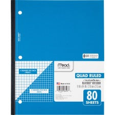 "Mead Quad Wireless Neatbook Notebook - Letter - 80 Sheets - Both Side Ruling Surface - 8 1/2"" x 11"" - White Paper - Micro Perforated - 1Each"