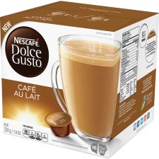 Nescafe Dolce Gusto Cafe Au Lait Coffee Capsules Capsule - Compatible with Majesto Automatic Coffee Machine - Rich Aroma, Caramel, Toasted Cereal, Cafe Au Lait - 16 / Box