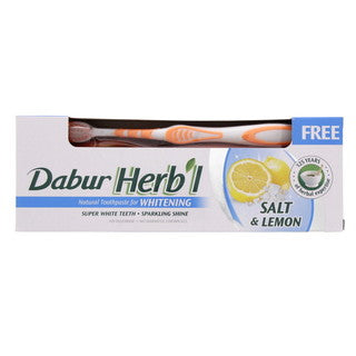 Dabur Herb'l Natural Whitening Toothpaste With Salt & Lemon 150 G