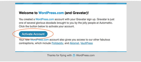 Gravatar Activate Account