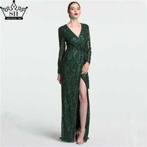 Robe De Soiree V-Neck Sleeping Style Gray Green Evening Dresses Beading  Diamond Long Sleeves 1a92eb4af556