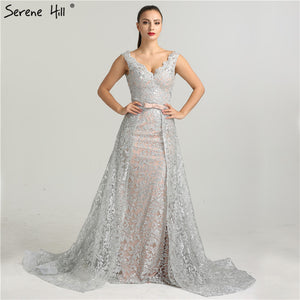 8ab318ce0e2 2018 Deep-V Sleeveless Gliter Vintage Sexy Evening Dresses Mermaid Fashion  Elegant With Removrable Train