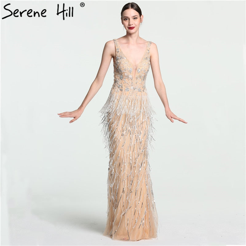 536cdde88b8 Sexy Deep-V Mermaid Gold Tulle Evening Dresses Newest Beading Sequined Luxury  Evening Gown 2018