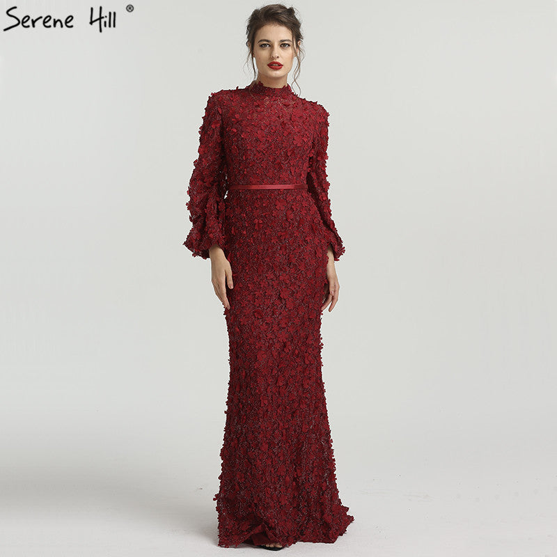 Flowers Pearls Long Sleeves Mermaid Evening Dresses Muslim Fashion Elegant  Tulle Evening Gowns 2018 Serene Hill 315390e15