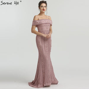 ad62d9b368a 2018 Newest Mermaid Elegant Evening Dress Long Sexy Sleeveless Pearls  Beading Evening Gowns Serene Hill LA6013