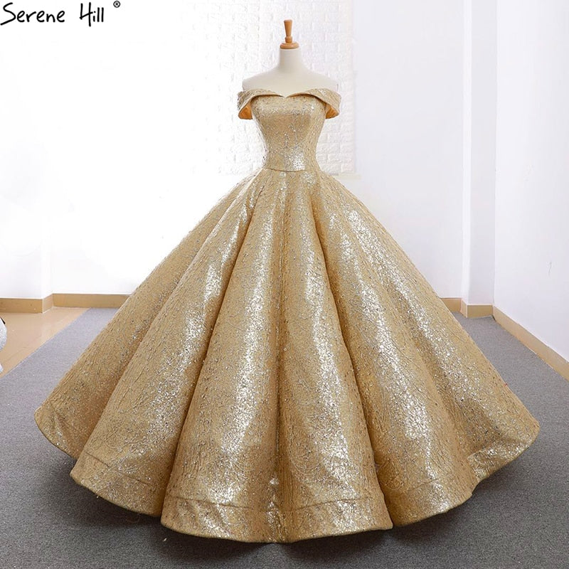 Gold Wedding Dresses.Champagne Gold Princess Wedding Dress Sleeveless High End Fashion Lace Up Bridal Gown
