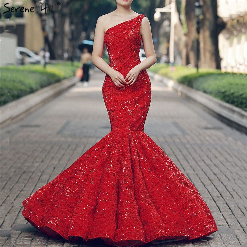 Red One Shoulder Wedding Dresses Sequined Fashion Lace Mermaid