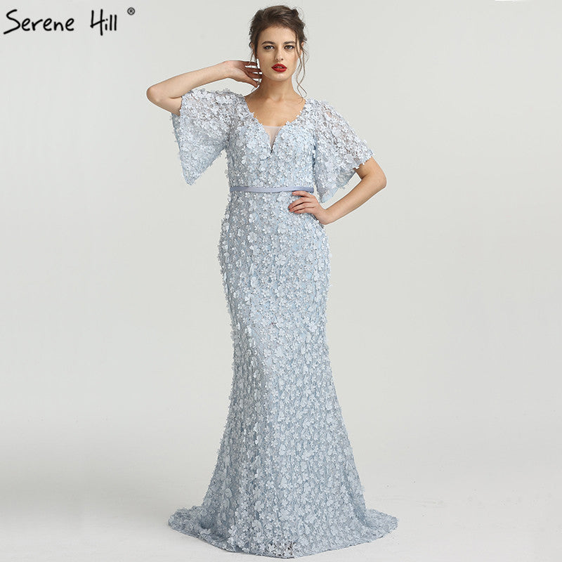14ed3c59a3 Sexy Mermaid Short Sleeves Luxury Evening Dresses Flowers Lace Pearls  Fashion Elegant Evening Gowns 2018 Serene