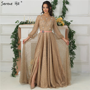 f5a0c91ca6b 2018 Arab Gown Luxury Diamond Pearls Sparkle Evening Dresses Long  SleevesFashion Sexy Evening Gowns Serene Hill