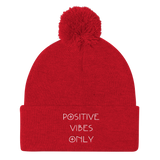Positive Vibes Only Pom Pom Skully