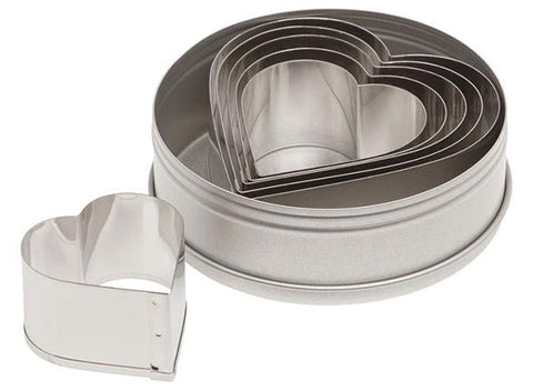 6 Piece Plain Heart Cutter Set -7804