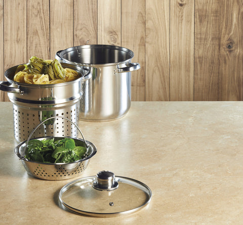 World of Flavours Italian Pasta Pot with Steamer Insert -KCPASTAPOT