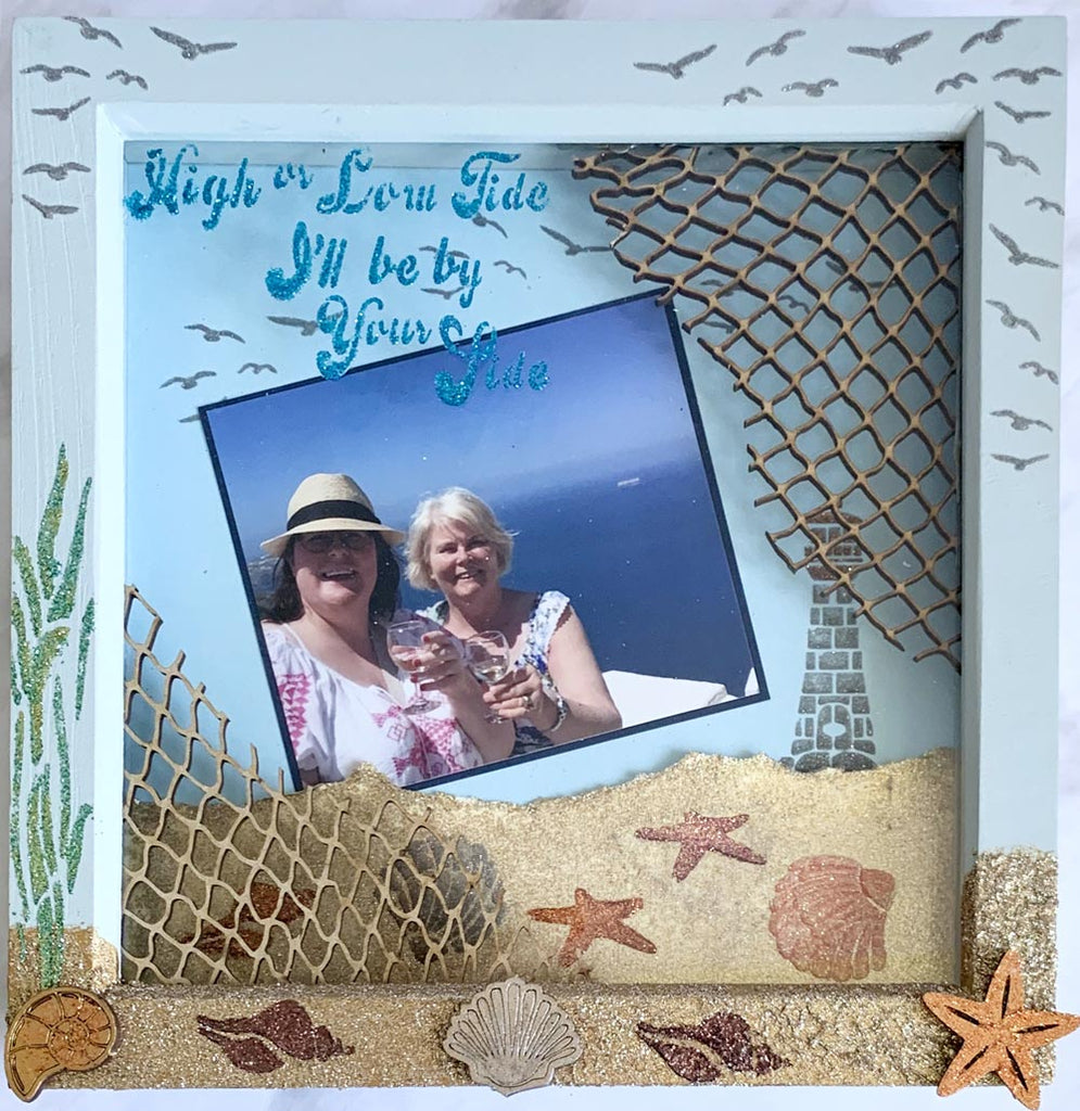 Seaside frame with Glittery sand and embellishments by Glitzcraft