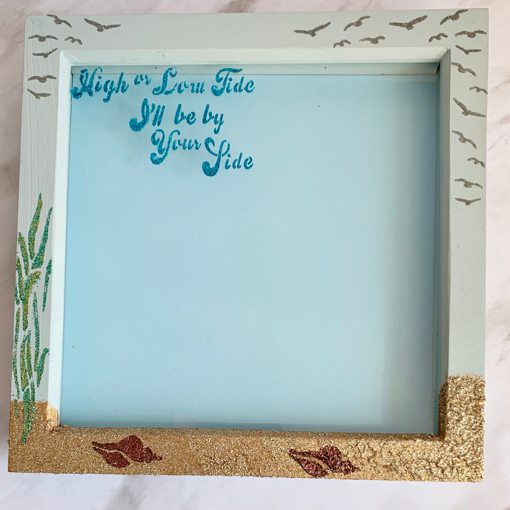 Seaside themed frame with glittery sand and embellishments by Glitzcraft