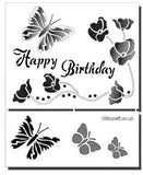 3D Happy Birthday Mylar stencil with Butterflies and Poppies