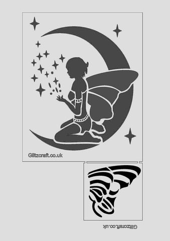 Fairy sitting on the moon with moon dust/twinkles stencil for card making and crafts