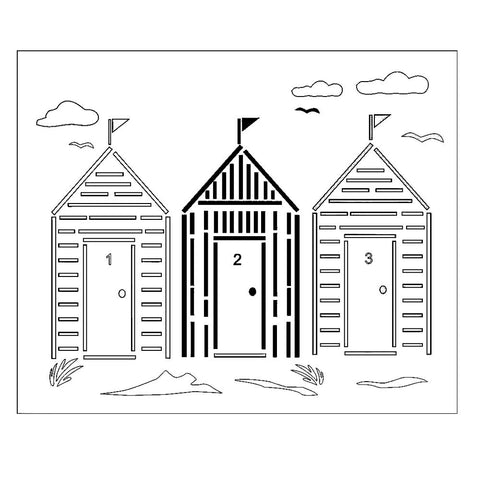 Beach Hut Stencil by Glitzcraft – 3 Huts on a beach with clouds, seagulls and seaweed. Durable Mylar Stencil  -  view 2
