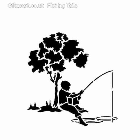 Stencil of Boy Fishing sitting under a tree with rod in the water