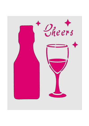 Cheers Wine Bottle Treat Cup Stencil