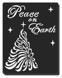 "Christmas tree stencil for cards and crafts  Christmas tree with a star on top and the text ""Peace on Earth""."