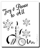 Christmas stencil reads Joy and Peace to all - Stencil with candle and snowflakes for Christmas cards and crafts