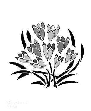 Crocus flower Stencil for card making and crafts