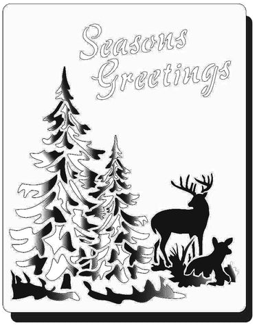 Seasons Greetings deer and trees Winter scene - Mylar Stencil