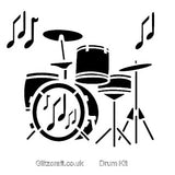 Drum kit Stencil - drums and musical notes for stencilling