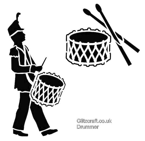 Drummer Boy Stencil - A Marching band Drummer and drum kit with sticks