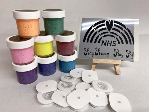 NHS Rainbow Bundle 8 Frosting Pastes, 12 Wobblies and Stencil