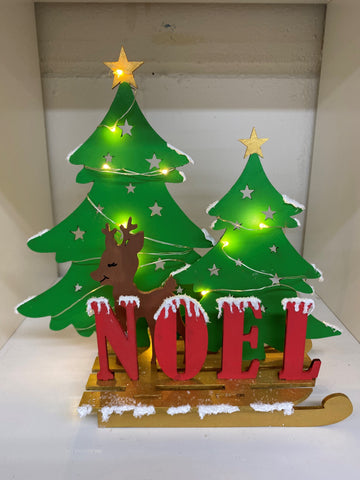 MDF NOEL sleigh with Deer Kit