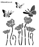 Poppy and butterflies stencil for card making and crafts - 3 butterflies flying above 5 poppies