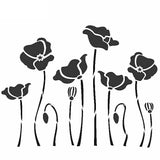 Poppies - Field of poppies mylar stencil for cards and crafts